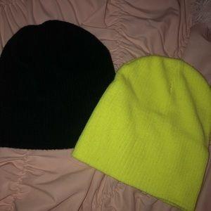 Black & Highlighter Yellow Beanies